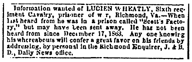 missing person ad for Union soldier Lucien Wheatly, Richmond Enquirer newspaper advertisement 30 May 1864