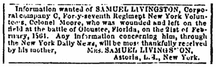 missing person ad for Union soldier Samuel Livingston, Richmond Enquirer newspaper advertisement 30 May 1864