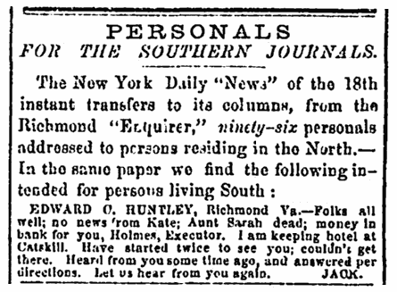Civil War missing person ads, Richmond Enquirer newspaper advertisements 30 May 1864
