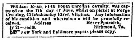 missing person ad for Confederate soldier William Kean, Richmond Enquirer newspaper advertisement 23 July 1864