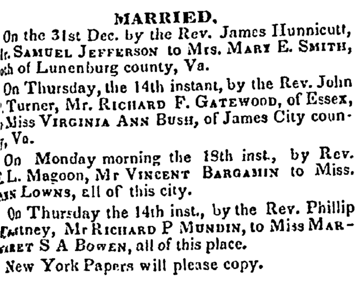 marriage announcements, Richmond Whig newspaper article 19 January 1841