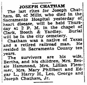 obituary for Joseph Chatham, Sacramento Bee newspaper article 16 January 1940