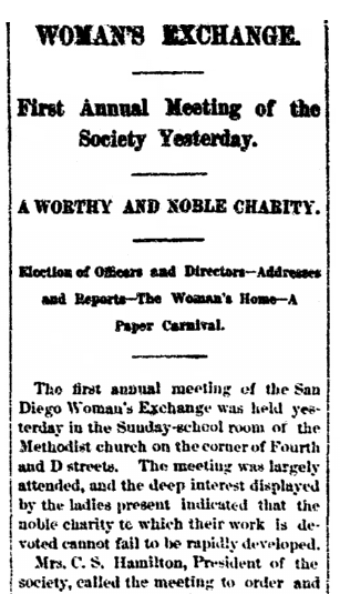Woman's Exchange, San Diego Union newspaper article 2 November 1888