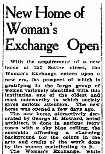 New Home of Woman's Exchange Open, San Francisco Chronicle newspaper article 9 February 1924