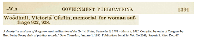 memorial for women suffrage submitted by Victoria Claflin Woodhull