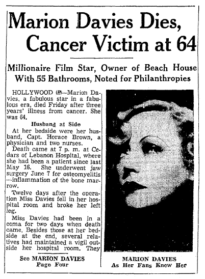 obituary for Marion Davies, Springfield Union newspaper article 23 September 1961