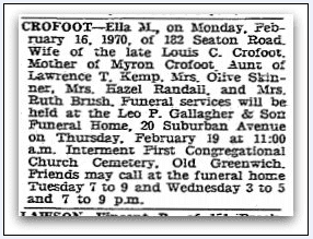 death notice for Ella M. Crofoot, Stamford Advocate newspaper article 17 February 1970