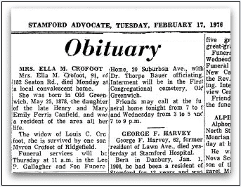 obituary for Ella M. Crofoot, Stamford Advocate newspaper article 17 February 1970