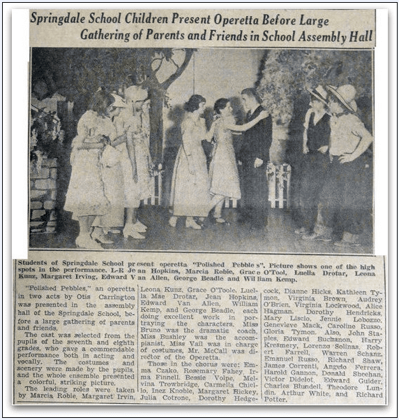 photo of the pupils in a Springdale School play, Stamford Advocate newspaper article May 1936