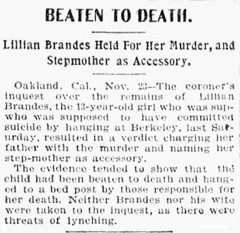 article about the murder of Lillian Brandes, Tacoma Daily News newspaper article 23 November 1898