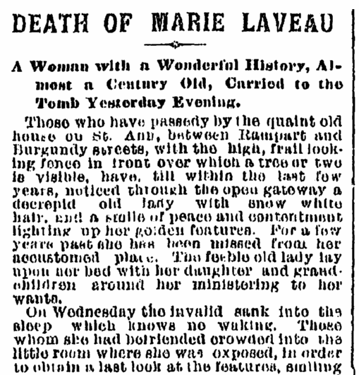 obituary for Marie Laveau, Times-Picayune newspaper article 17 June 1881