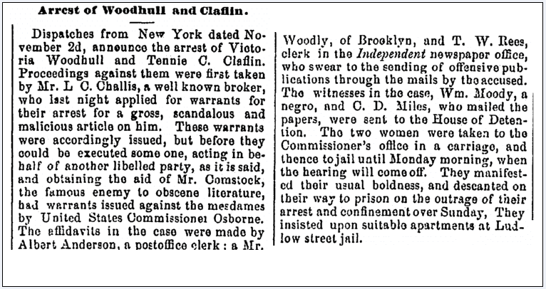 Arrest of Woodhull and Claflin, Washington Reporter newspaper article 6 November 1872