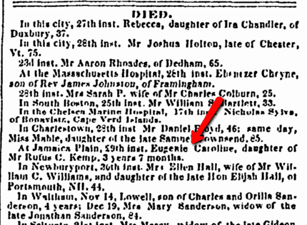 obituary for Eugenie Caroline Kemp, Weekly Messenger newspaper article 31 December 1845