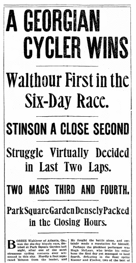article about a bicycle race, Boston Herald newspaper article 6 January 1901