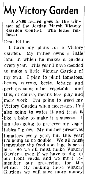 essay about WWII Victory Gardens, Boston Herald newspaper article 23 May 1943