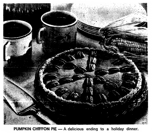 photo of a pumpkin chiffon pie, Boston Herald newspaper article 16 November 1972