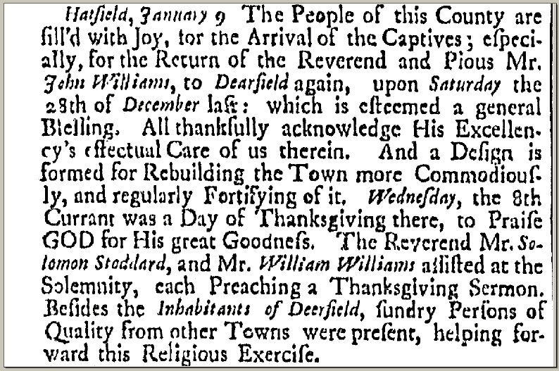 article about a proclamation for a Day of Thanksgiving, Boston News-Letter newspaper article 20 January 1707
