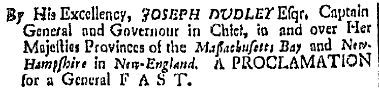 article about a proclamation for a Day of Fasting and Prayer, Boston News-Letter newspaper article 5 February 1705