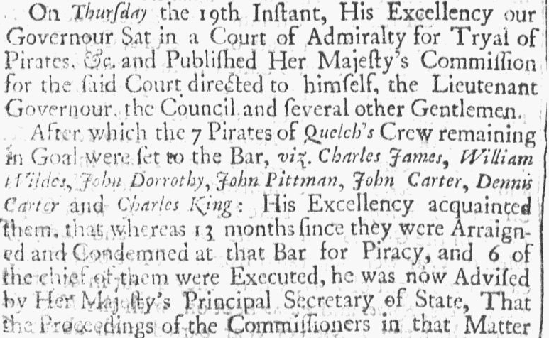 article about the pardoning of some members of pirate John Quelch's crew, Boston News-Letter newspaper article 23 July 1705