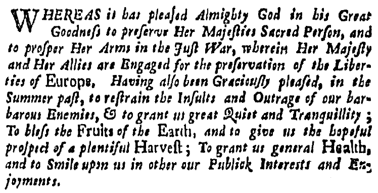 article about a proclamation for a Day of Thanksgiving, Boston News-Letter newspaper article 1 October 1705