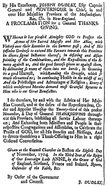 an article about a proclamation for a Day of Thanksgiving, Boston News-Letter newspaper article 13 November 1704