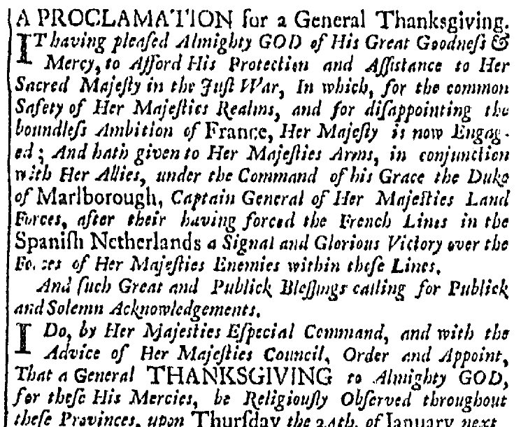 article about a proclamation for a Day of Thanksgiving, Boston News-Letter newspaper article 31 December 1705