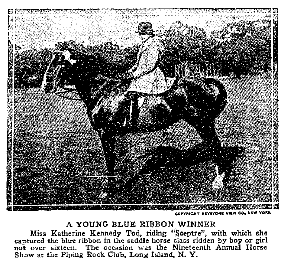 photo of Katherine Tod on her horse Sceptre, Colorado Springs Gazette newspaper article 23 October 1921