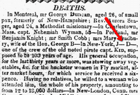 obituaries, Concord Observer newspaper article 17 January 1820