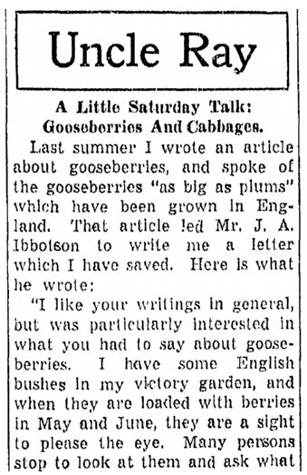 letters about WWII Victory Gardens, Daily Illinois State Journal newspaper article 1 July 1944