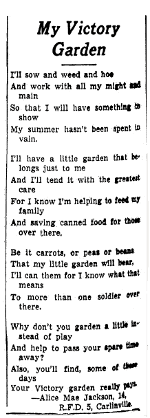 WWII Victory Garden poem, Daily Illinois State Journal newspaper article 5 September 1943