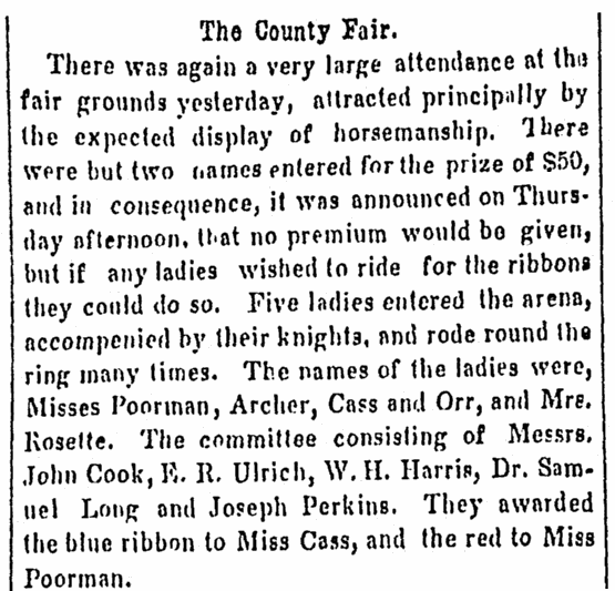 article about a horsemanship contest at the county fair, Daily Illinois State Register newspaper article 29 September 1855