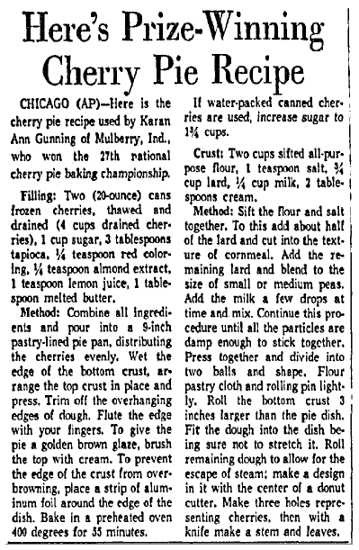 article about a prize-winning recipe for cherry pie