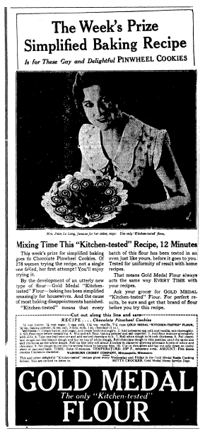 Betty Crocker ad for Gold Medal Flour, Evening Star newspaper advertisement 15 November 1928