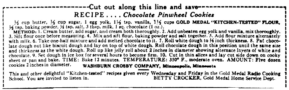 Betty Crocker recipe for Chocolate Pinwheel Cookies, Evening Star newspaper article 15 November 1928