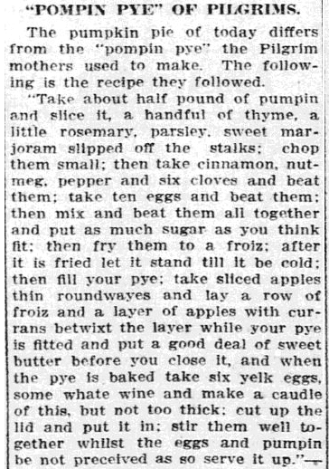 article about a pumpkin pie recipe, Grand Forks Daily Herald newspaper article 30 November 1910