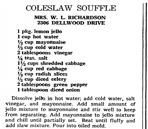 recipe for coleslaw souffle, Greensboro Daily News newspaper article 24 October 1971
