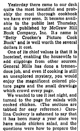 review of a Betty Crocker cookbook, Greensboro Record newspaper article 13 September 1950