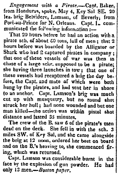 stories about pirates, Hallowell Gazette newspaper article 12 June 1822