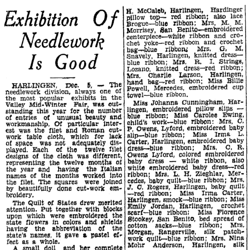 Exhibition of Needlework Is Good, Heraldo de Brownsville newspaper article 6 December 1936