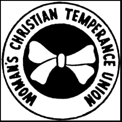 Illustration: Woman's Christian Temperance Union logo, scanned from a 1920 WCTU temperance flyer