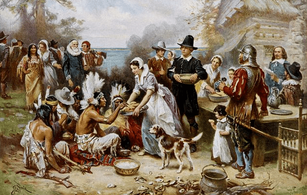 "Painting: ""The First Thanksgiving,"" by Jean Leon Gerome Ferris"