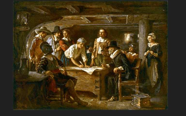 "Painting: ""The Mayflower Compact, 1620,"" by Jean Leon Gerome Ferris"