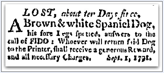 missing dog ad, Independent Chronicle newspaper advertisement 1 September 1791