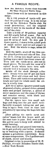 turtle soup recipe, Irish American Weekly newspaper article 14 December 1896