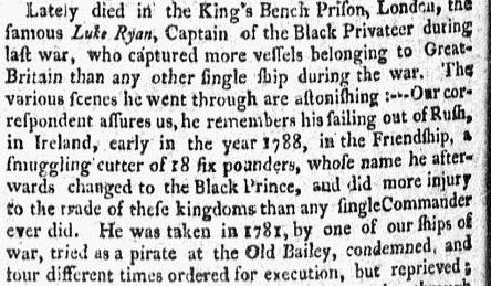 obituary for pirate Luke Ryan, Massachusetts Centinel newspaper article 7 October 1789