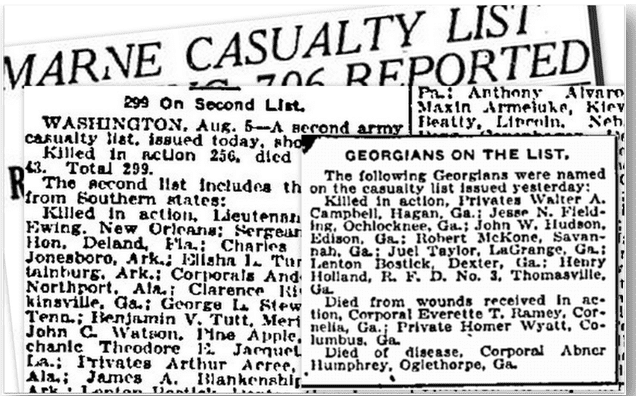 casualty list, Macon Telegraph newspaper article 6 August 1918