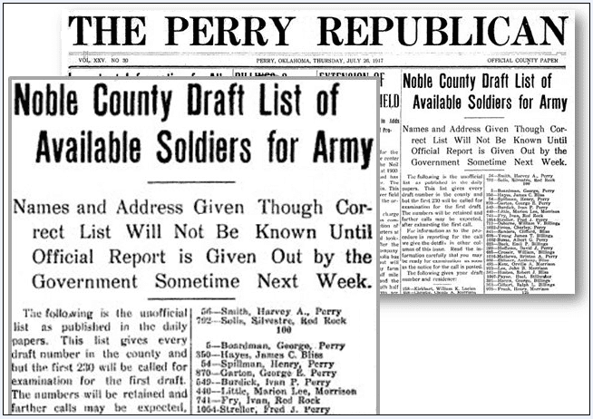 article about a draft list, Perry Republican newspaper article 26 July 1917