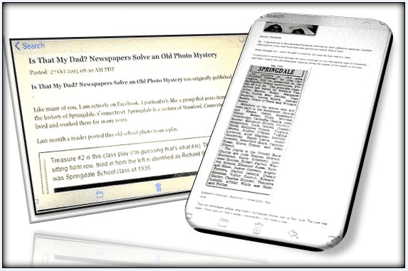 picture of a smartphone displaying a newspaper article