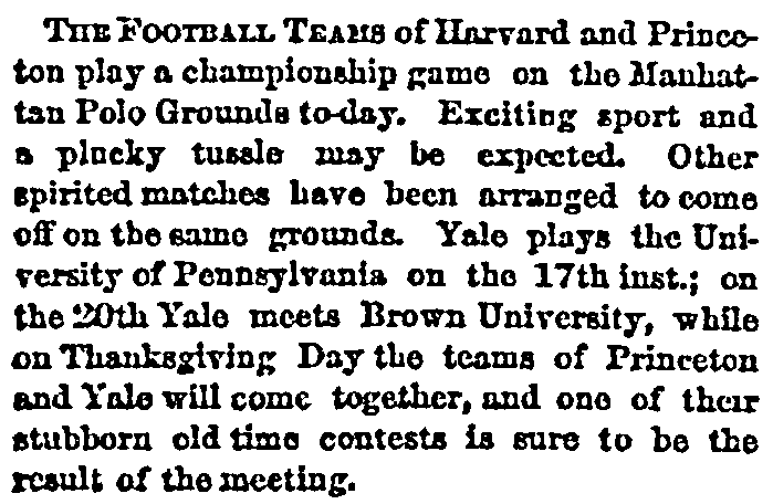 article about college football games, New York Herald newspaper article 13 November 1880