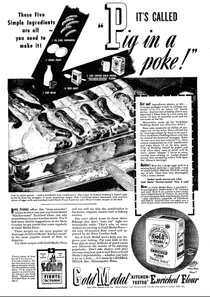 "Betty Crocker recipe for ""Pig in a Poke,"" Oregonian newspaper article 30 January 1944"